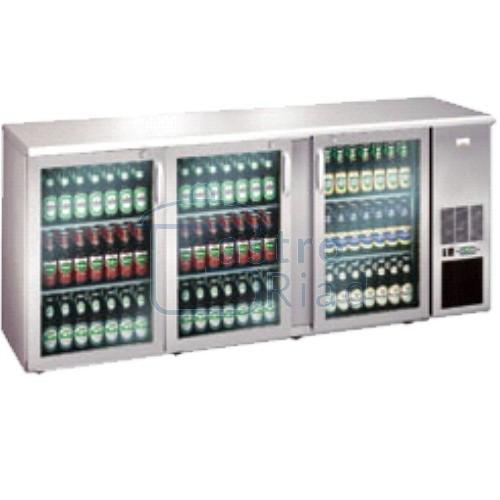 Zobraziť tovar: Stôl chladiaci barový, 3 x presklené dvere, nerezový, ECO/222GMUCS