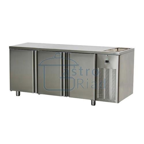 Zobraziť tovar: Stôl chladiaci s drezom, 3 x dvere, SCH-3D+Dr