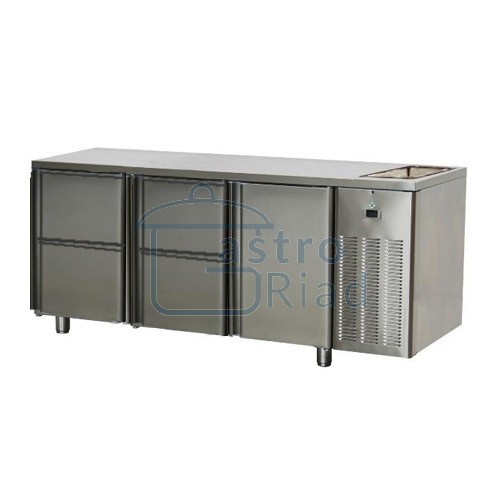 Stôl chladiaci s drezom, 1 x dvere, 4 x zásuvka