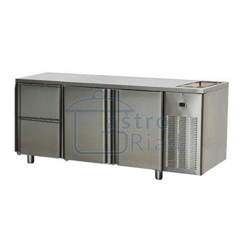 Zobraziť tovar: Stôl chladiaci s drezom, 2 x dvere, 2 x zásuvka, SCH-3D-2D2ZDr