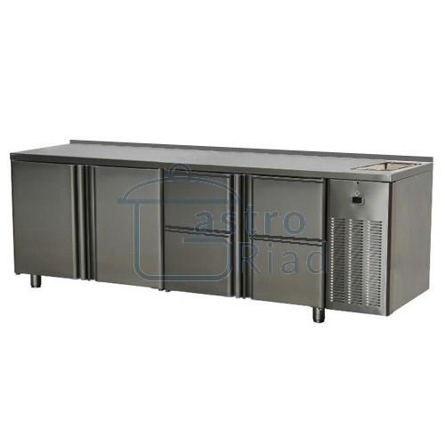 Zobraziť tovar: Stôl chladiaci s drezom, 2 x dvere, 4 x zás., SCH-4D-2D-4Z+Dr