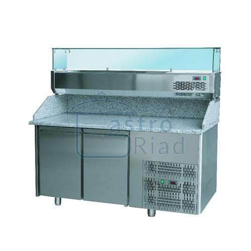 Zobraziť tovar: Stôl pizza, 2 x dvere, s chlad. vitrínkou 7xGN1/4, SCHP-2D