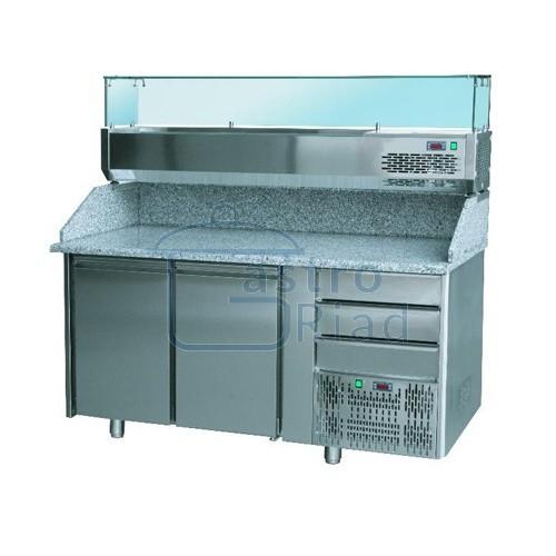 Zobraziť tovar: Stôl pizza, 2 x dvere, zásuvky, s chlad. vitrínkou 7xGN1/4, SCHP-2D3Z