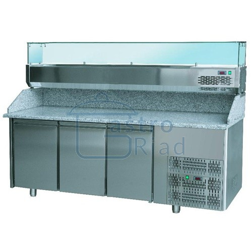 Zobraziť tovar: Stôl pizza, 3 x dvere, s chlad. vitrínkou 9xGN1/4, SCHP-3D