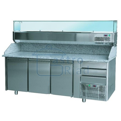 Zobraziť tovar: Stôl pizza, 3 x dvere, 3 x zás., s chl. vitr., SCHP-3D3Z